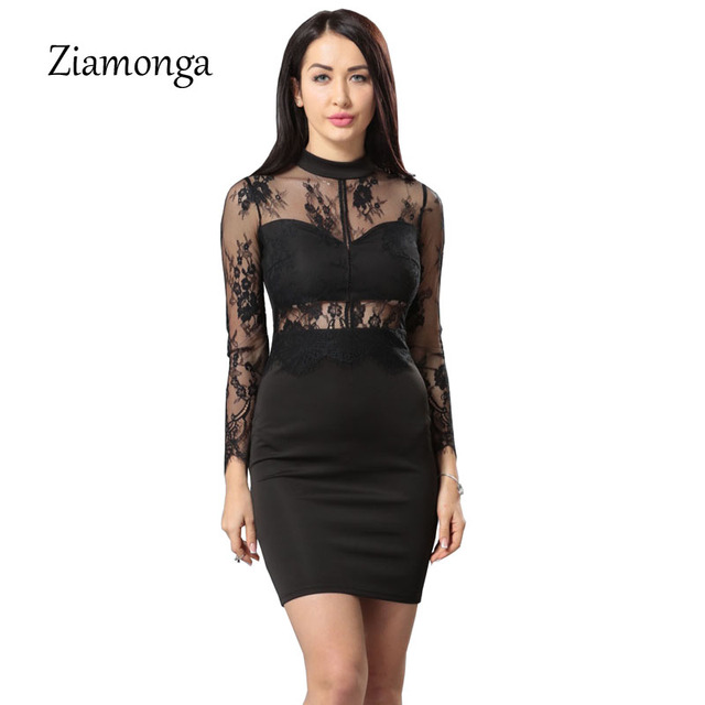 86d089705b8bb Ziamonga Black Women Sexy Floral Lace Dress Long Sleeve Zipper Front Hollow  Out Bodycon Bandage Dress Vintage Mini Pencil Dress-in Dresses from Women s  ...
