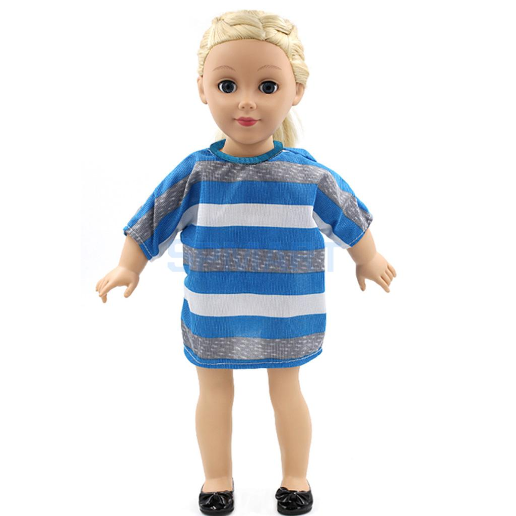Blue Stripe Dress Clothes fit 18 American Girl Doll