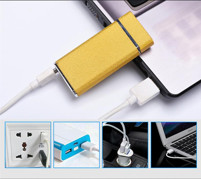 Briquet éléctrique sources d'énergie de bras de carbone alternatives à l'énergie traditionnelle de gaz et de carburant, interface USB rechargeable, recyclable Peut être connecté à l'ordinateur et aux chargeurs de téléphone portable
