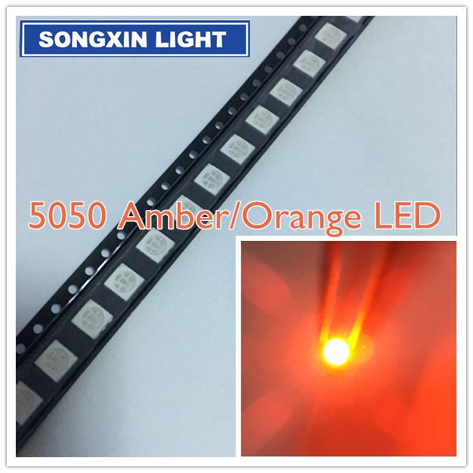 1000 pcs 5050 SMD LED Orange 3-CHIPS PLCC-6 Ultra Bright SMT LED CHIP Emitting Diodes Lamp Bead For DIY Electronic Components