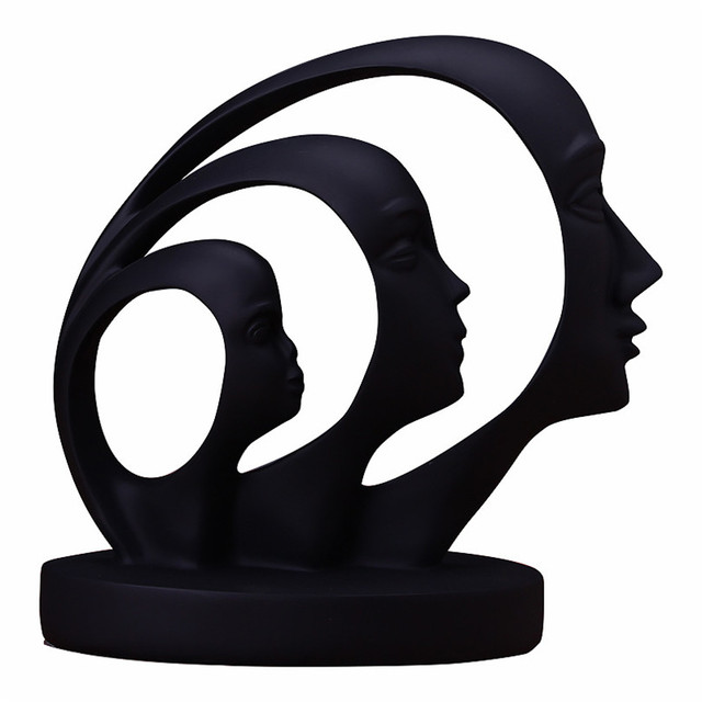 Modern A Family of Three Statue Home Decoration Accessories People Sculpture White Black Resin Figurines Abstract Art Craft Gift 5