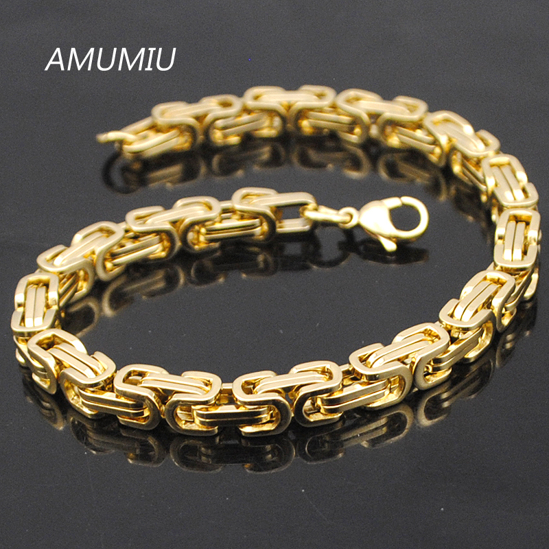 AMUMIU Promotion! Mens Bracelets Gold Chain Link Bracelet Stainless Steel 5.5mm Width Byzantine Wholesale High Quality KB002