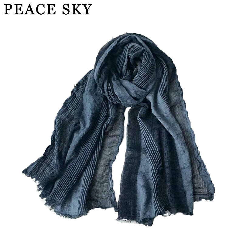 Winter Scarf Shawl Linen Long Cotton Plaid Striped Fashion And Men Bubble Japanese-Style