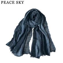 Супер большой японский стиль зимний шарф хлопок и лен Полосатый плед пузыри длинные женские шарфы шаль модный мужской шарф