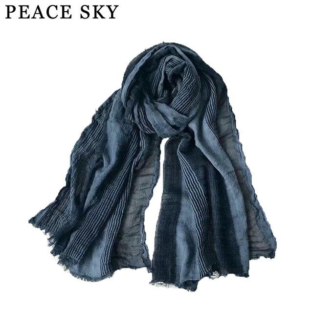 a8dfcff0f134 2017 Superbig Style japonais hiver écharpe coton et lin rayé Plaid bulle longue  femmes écharpes châle