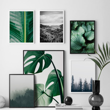 Fresh Green Big Leaves Mountain Forest Wall Art Canvas Painting Nordic Posters And Prints Pictures For Living Room Decor