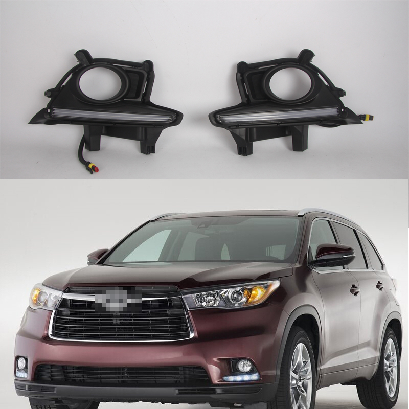 1 Set LED DRL daytime running lights with fog driving lamps for TOYOTA Highlander 2014-2015 гарри вольнов гарри вольнов poetic jazz theatre