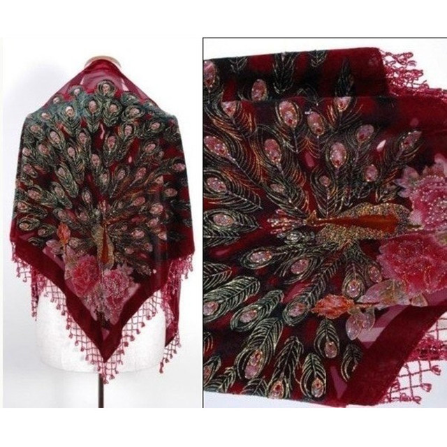 Sale Burgundy Women's Triangle Velvet Silk Beaded Embroidery Shawl Scarf Wrap Scarves Peafowl Free Shipping SW09-F