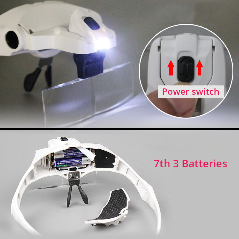 Image 3 - 1X 1.5X 2X 2.5X 3.5X Illuminated Magnifying Glass Magnifier with LED lamp f watch clock repair dental loupes Eyelash Extension-in Magnifiers from Tools on AliExpress