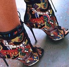 Shinny Crystal String Bead Retro font b Women b font High Heel Sandals Luxury Weeding font