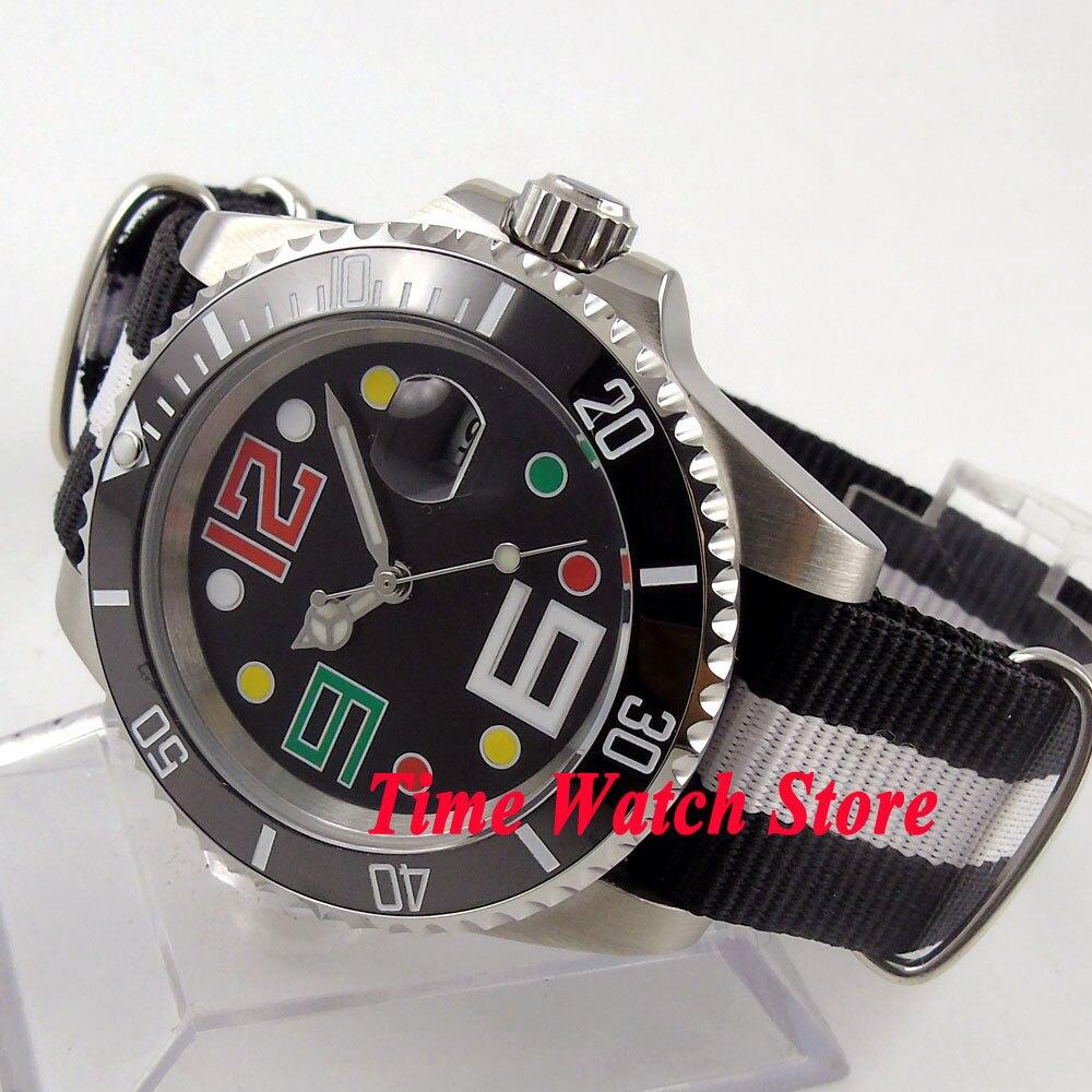 Bliger 40mm black sterial dial date luminous saphire glass Ceramic Bezel Automatic movement Men's watch BL110 цена и фото