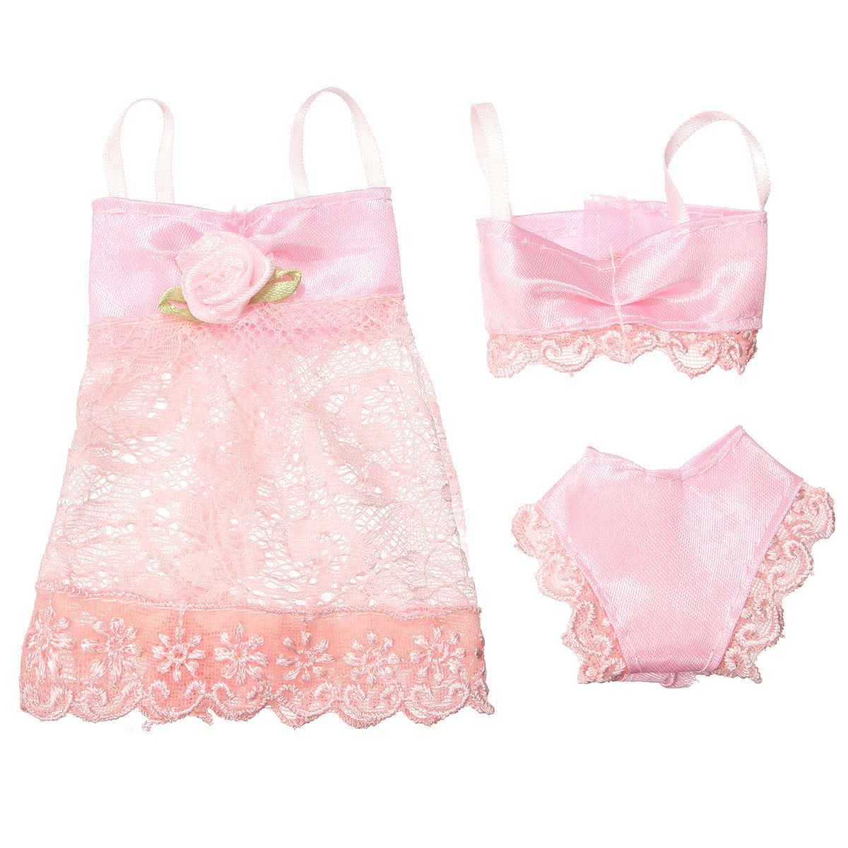 3PCS/Set Colourful Attractive Pajamas Lingerie Lace Night time Gown + Bra + Underwear Garments For Barbie DollSkirt Garments Dolls Accessorie