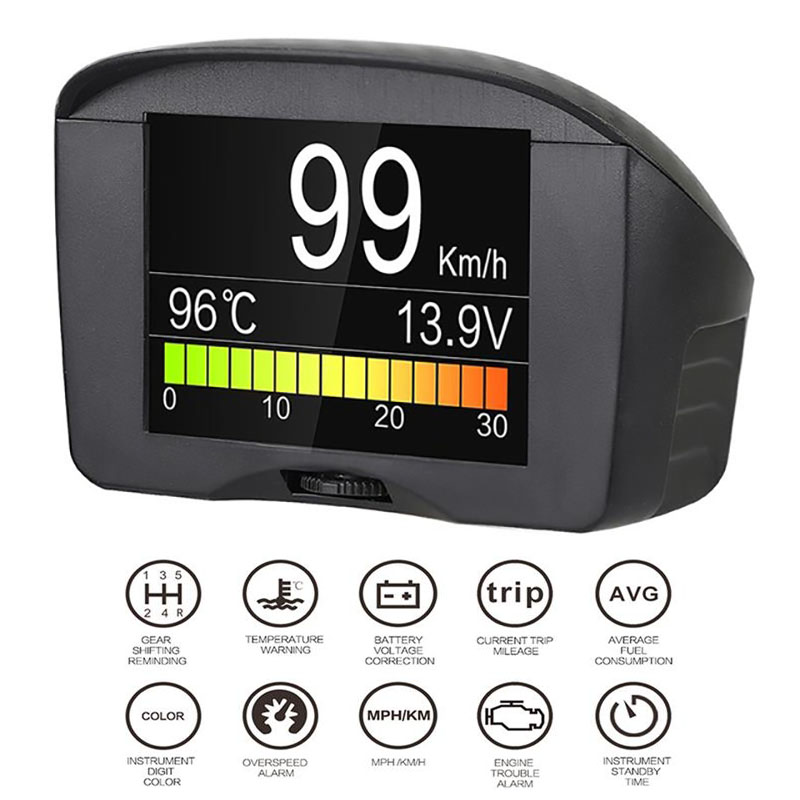 цена на Car OBD Diagnostic Digital Hud Alarm Fault Code Water Temperature Gauge Voltage Speed Meter Display Auto Obd2 II Scanner Tool