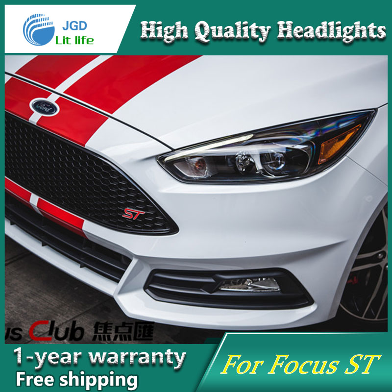 Car Styling Head Lamp case for Ford Focus ST LED Headlights 2015 2016 2017 DRL Daytime Running Light Bi-Xenon HID Accessories цены