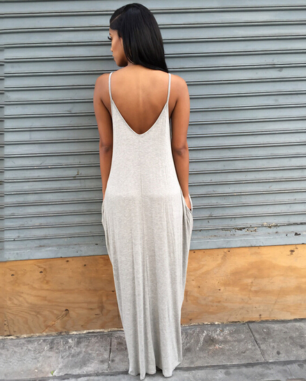 Low Cut Low Back Open Back Deep V Neck Slip Strap Sun Dress Swing Loose  Casual Summer Dress Sexy Cotton 2016 New-in Dresses from Women s Clothing  on ... 1efb5af92