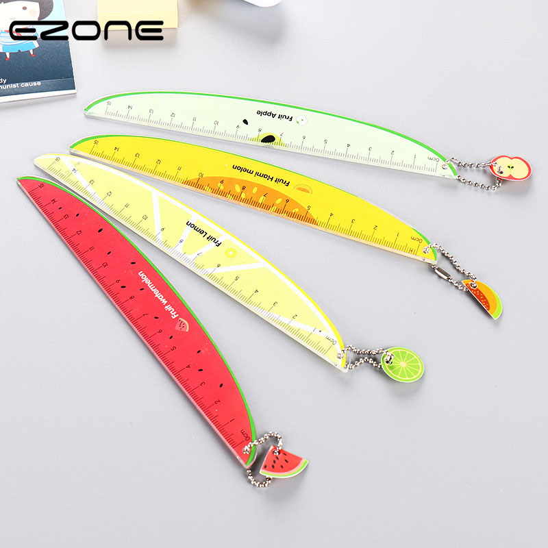 EZONE 1PC Fresh Fruits Ruler Watermelon/Hami Melon/Apple/Lemon Pattern Creative Students Stationery 15cm Accurate Straight Ruler