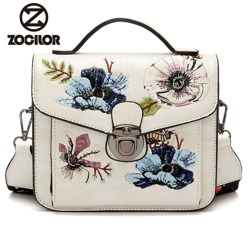 Fashion 2018 embroidered PU Leather Women Bag Small Women Messenger Bag Single Strap Shoulder Bag Ribbons Ladies Crossbody Bags
