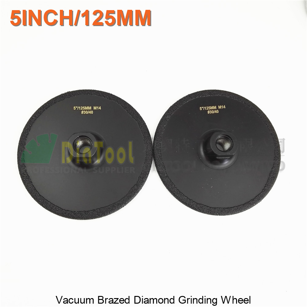 DIATOOL 2pcs Diameter 125mm Vacuum Brazed Diamond Flat Grinding Wheel M14 Grit #30 5 Inches Grinder Disc diatool 5 grit 30 vacuum brazed diamond flat grinding wheel disc m14 dia 125mm shaping wheel for engineer stone marble granite