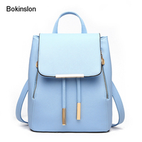On Sale 2016 Simple Ladies Backpack Bags PU Leather Pure Color Popular Backpack Women Fashion Rhinestone