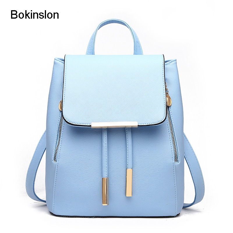 Bokinslon Fashion Backpack Women's Pu Leather College Wind Backpack Girl Schools Casual Elegant Backpack Gir bokinslon backpacks brand womens fashion classic retro women backpack bag college wind pu leather school girl backpack