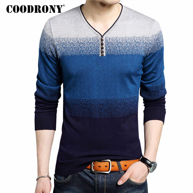 COODRONY Fashion Henry Collar Sweater Male Cotton Wool Mens Sweaters Striped Print Pullover Men V-Neck Pull Homme Plus Size 7105
