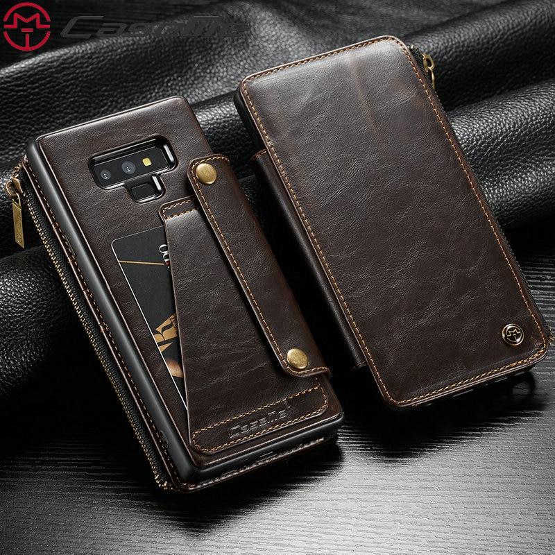 CaseMe Amovible Housse En Cuir Pour Galaxy Note 9 Avec Fermeture Éclair Slots Carte de Crédit Slots 2 dans 1 Amovible Flip portefeuille en cuir