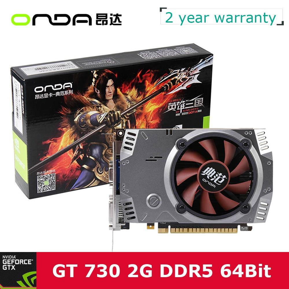 Prix pour Onda NVIDIA GeForce GT 730 GPU 2 GB 64bit 2048 MB Gaming DDR5 PCI-E 2.0 Vidéo Carte Graphique DVI + HDMI + VGA Port avec Un Ventilateur De Refroidissement