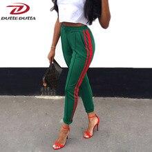 db671e3a39db5 DutteDutta 2017 Women High Waist Harem Pants Autumn Elastic Casual Pants Female  Workout Green Striped Sporting Pants Trousers