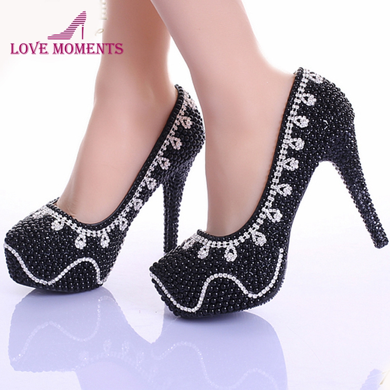 Spring Black Pearl Crystal Bridal Shoes Women Evening Party Dress Shoes Wedding Pumps Platform Rhinestone Bling Dress Prom Shoes ab crystal diamond exquisite wedding shoes sparkling rhinestone handcraft bridal shoes thin heel evening prom party women pumps