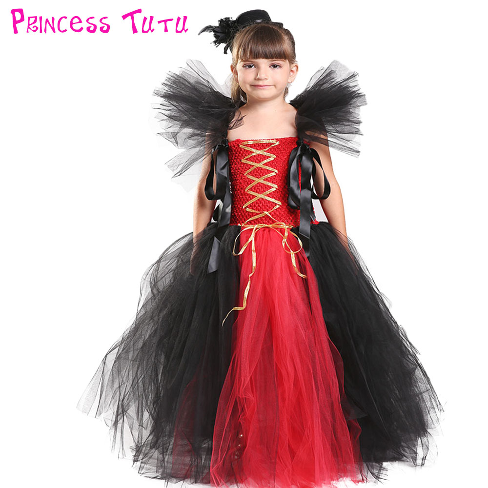 Halloween Girl Vampire Inspired Tutu Dress Black Red Pirate Girl Birthday Party Cosplay Queen Tutu Dresses For Kids Photo Props 4pcs halloween props devil zombie vampire teeth halloween fangs