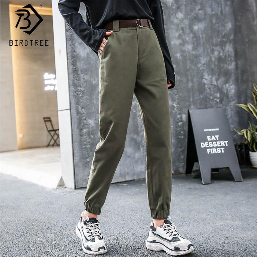 Taille Cargo green Beige B91802j Spéciales Longueur Cheville Haute Pantalon Ceintures Décontracté Solide Femmes Poches De Printemps black Boutons Offres nWFXw