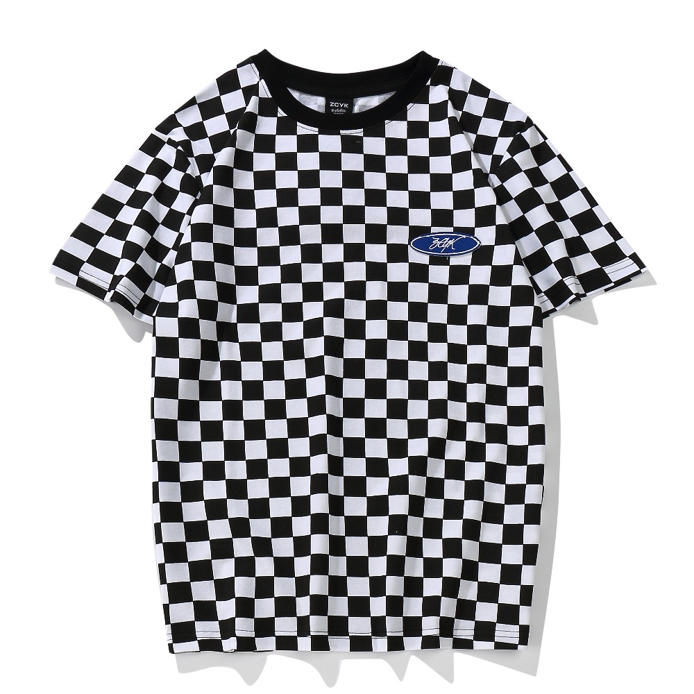 Plaid   T     Shirt   Classic Black and White Lattice Basic Cotton O Neck Patchwork Embroidery Chess   T  -  Shirt   Geek Dark Souls