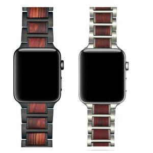 Image 3 - Bracelet en bois pour Apple watch, en bois de santal rouge + acier inoxydable, bracelet de Apple watch série 5 4 3 38, 42, 44mm