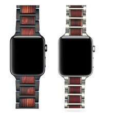 De Madera correa de reloj para Apple 4 5 banda 44mm 40mm iWatch 5 4 3 42mm 38 mm sándalo rojo Natural + pulsera de correa de acero inoxidable(China)