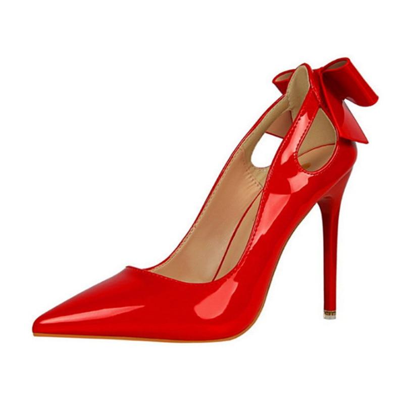 Bombas light Superficial Puntiagudo Zapatos Tacón Alto rojo Negro 2019 Cm Mujeres Mujer Patente Pink Dedo Moda Pajarita De Nueva rosado 10 blanco caqui Cuero Del Recortes Sexy Pie Otoño nZxwaq8SYx