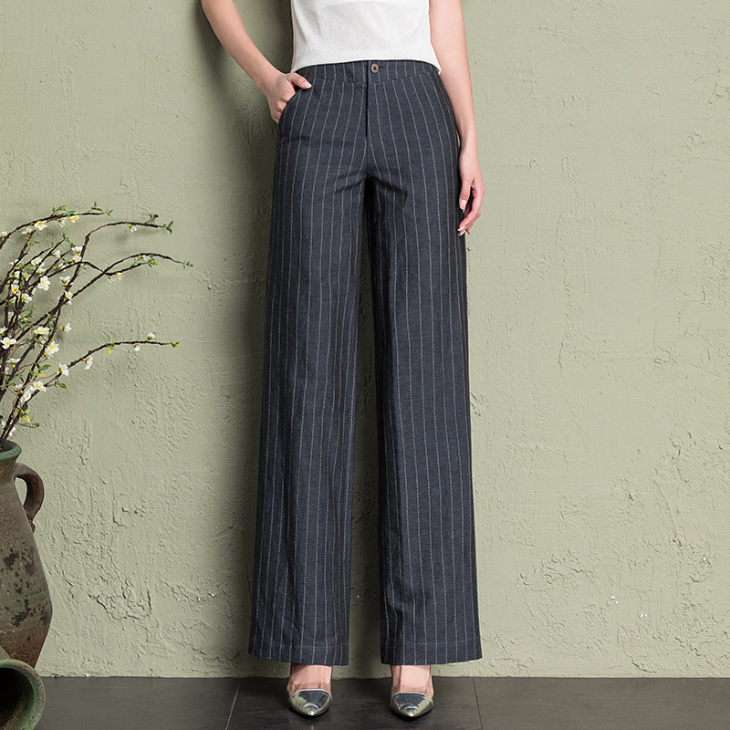 summer Wide Leg Pants Women s Striped High Waist Wide Leg Pants OL Style Loose Cotton