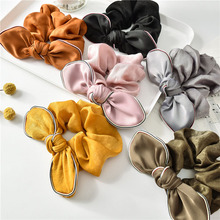 Good Quality Solid Scrunchie Girls Silk Hair Bowknot Tie Women Bunny Ear Elastic Bands Rope Gum for Ponytail Holder