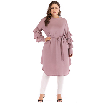 Plus Size Abaya Kimono Dubai Kaftan Women Long Beading Tutu Sleeve Muslim Hijab Dress Turkish Islamic Fashion Clothing 1