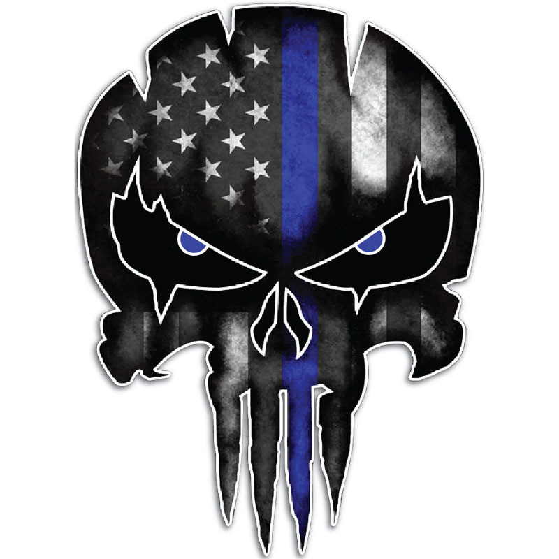 HotMeiNi Thin Blue Line Skull Funny Reflective Personalized Car Stickers Motorcycle Vinyl Decals 9.5CM*13CM-in Car Stickers from Automobiles & Motorcycles on Aliexpress.com | Alibaba Group