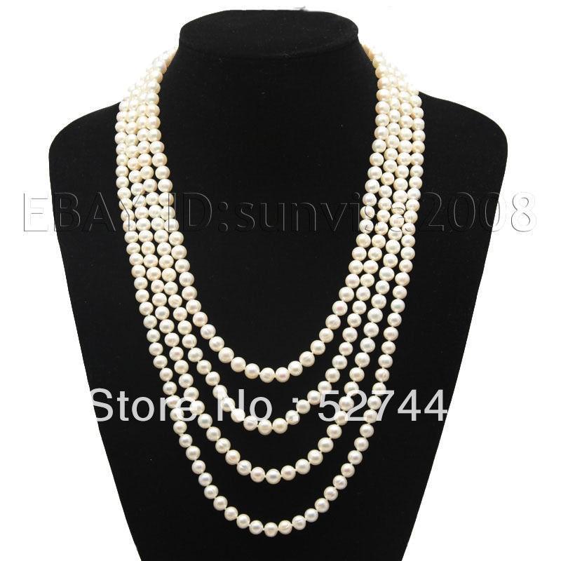 En gros rapide meilleur cadeau Un 7-8mm blanc d'eau douce de perles akoya collier 130