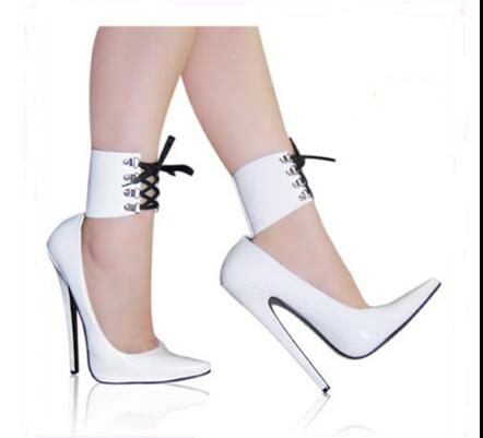 Carpaton New Women's sexy patent leather pointed toe shallow ankle strap high heel shoes T station catwalk photo shoes