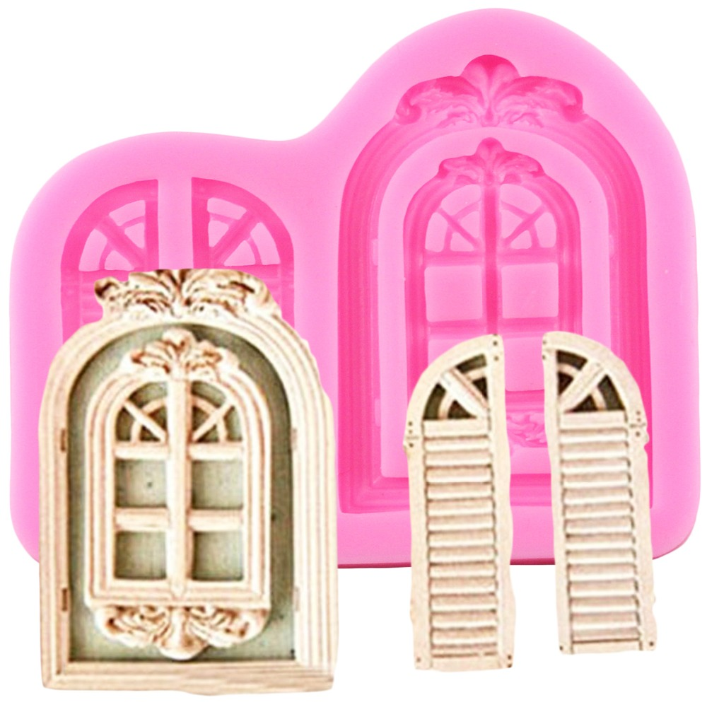3D Retro Window Cake Border Silicone Molds Door Fondant Cake Decorating Tools Cupcake Chocolate Candy Mold Baking Accessories