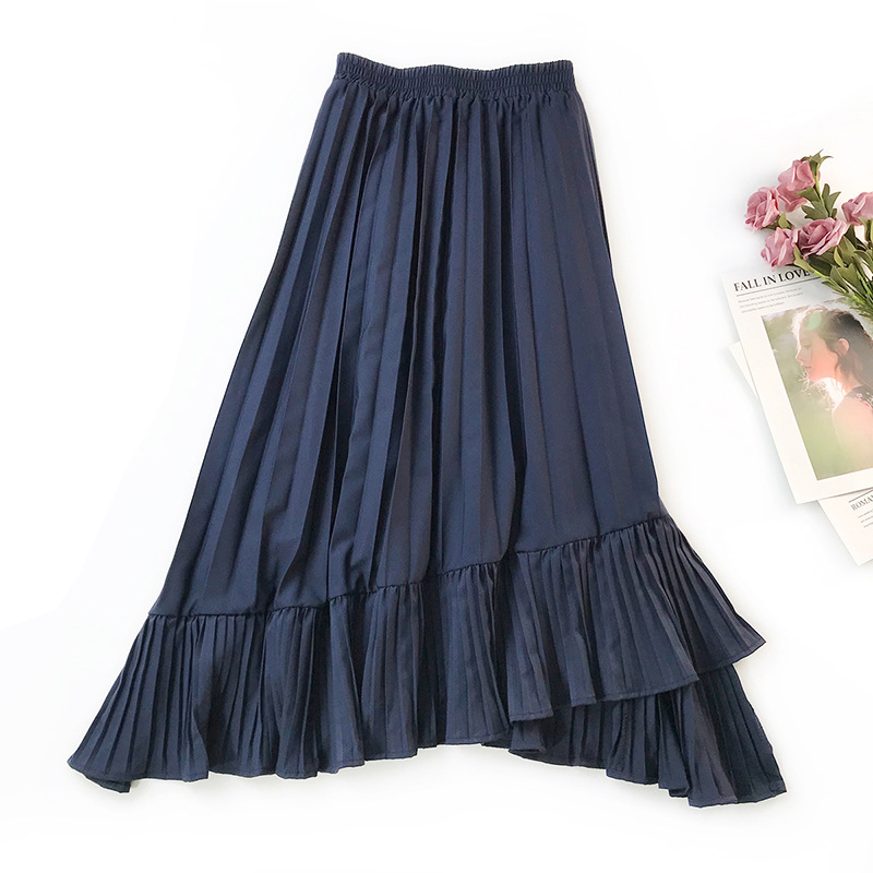 French Retro Irregular Fishtail Skirt Large Swing Pleated Trumpet Midi Skirt High Waist Slimming Ruffles Mermaid Skirt Faldas