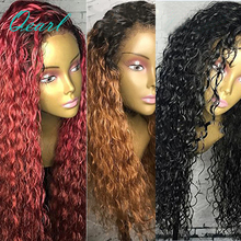 Brazilian Remy Hair Loose Curly Full Lace Human Hair Wigs Three Colors Dark Roots Ombre Pre