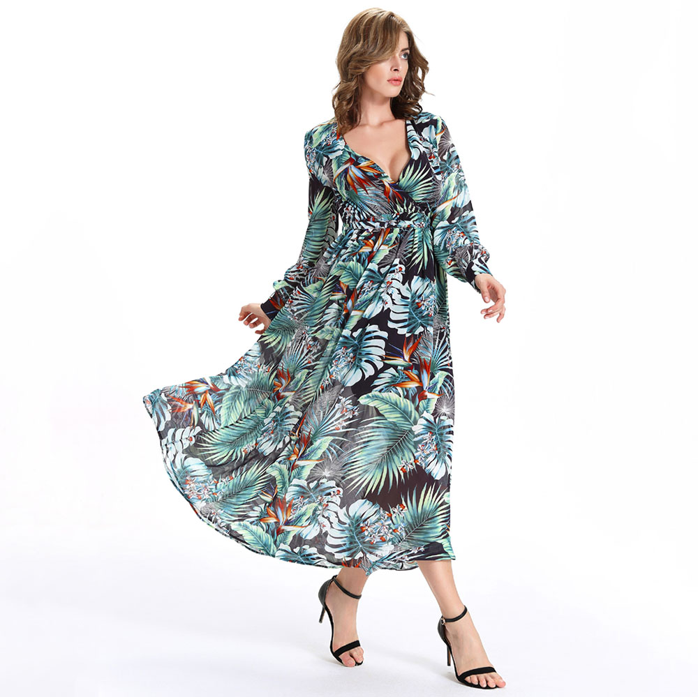 Buy Cheap 2017 New Summer Women Long Maxi Dress Fashion Casual Deep V-Neck Tropical Print Dresses Long Sleeve Holiday Beach Dress Vestidos