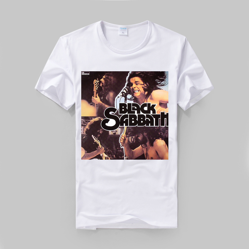 Black Sabbath Ozzy Osbourne concert collage printing high quality modal cotton tee British slim style