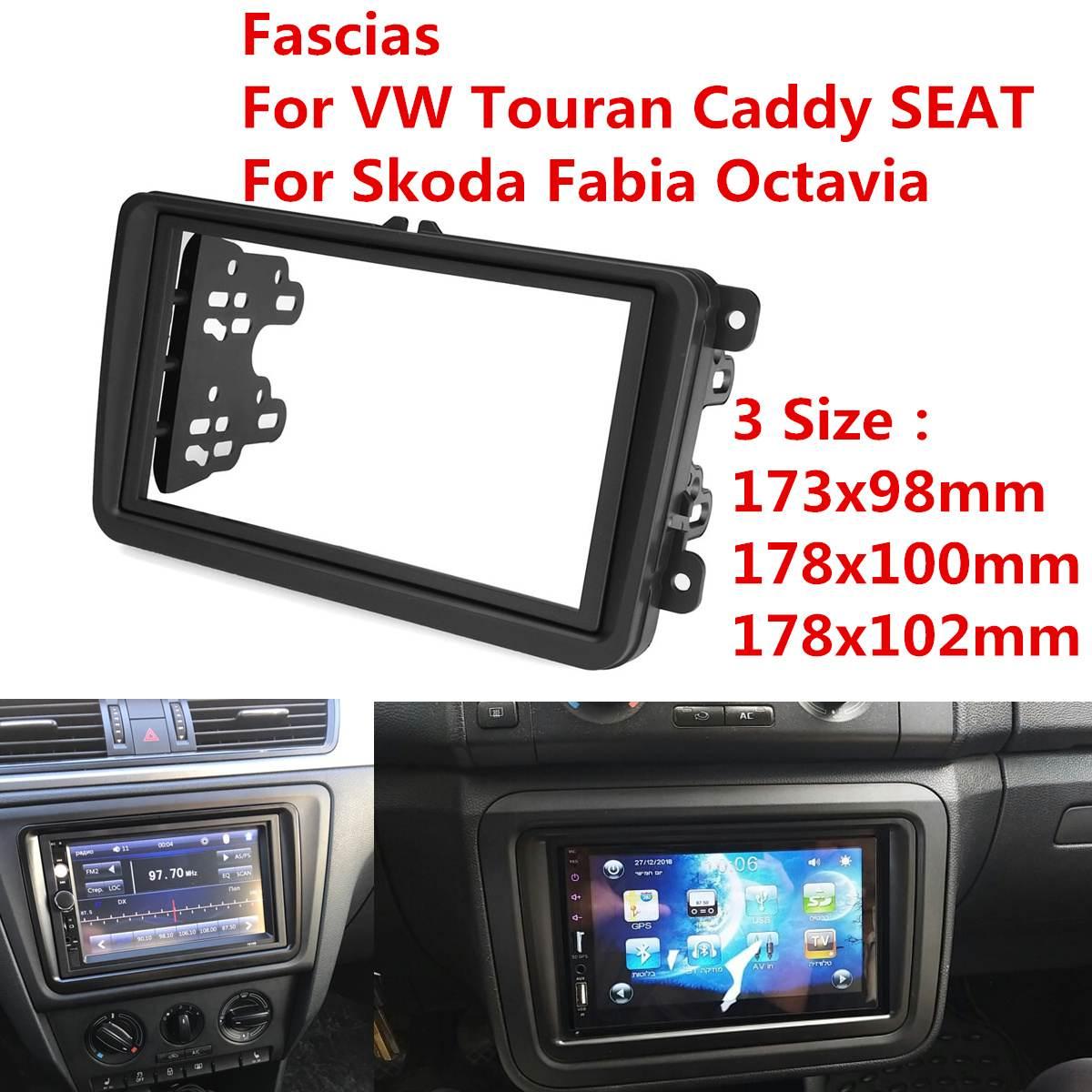 2 דין רכב רדיו Fascia Fascias פנל מסגרת תקליטור DVD דאש אודיו פנים עבור פולקסווגן פולקסווגן טוראן Caddy סיאט סקודה פאביה אוקטביה