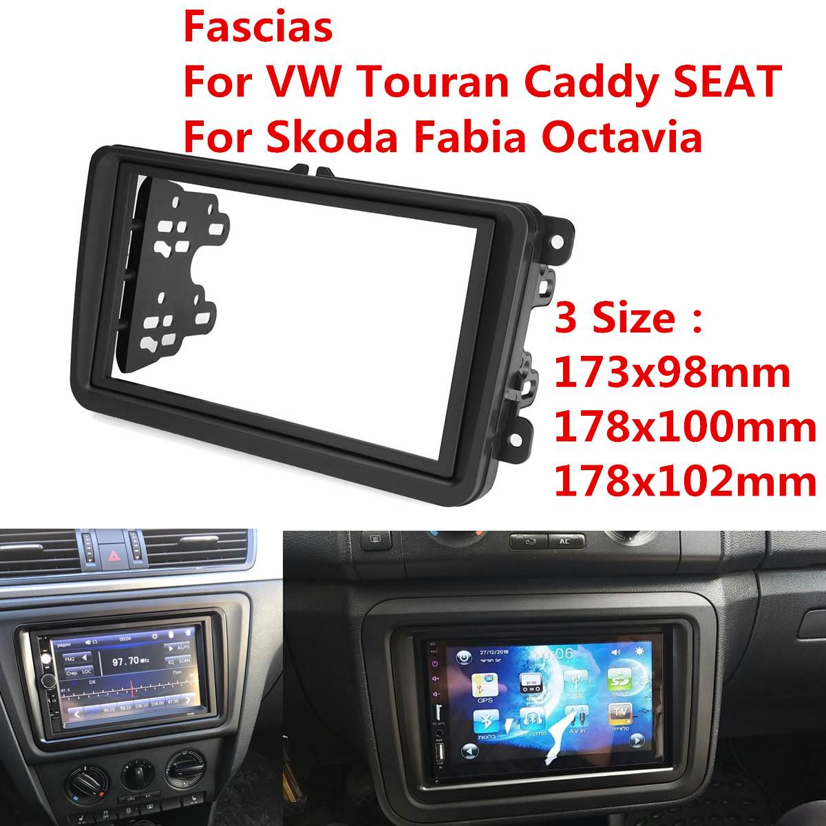2 Din Car Radio Fascia PVC Marco de panel CD DVD Dash de Interior para Volkswagen VW Touran Caddy asiento Skoda Fabia Octavia