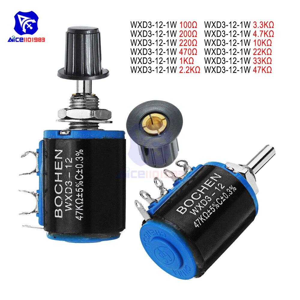 WXD3-13-2W 10K Ohm Multiturn Wirewound Potentiometer with 4mm Scale Knob
