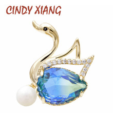 CINDY XIANG 4 Colors Avaible Rainbow Cubic Zirconia Swan Collar Brooch Pin Unisex Fashion Brooches Suit Wedding Gift